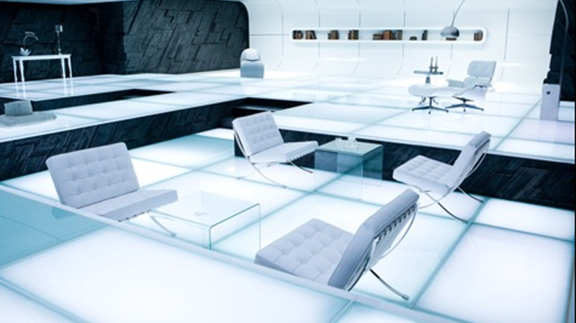 A scene from Tron:Legacy (2010) featuring the future-esque Barcelona Chair