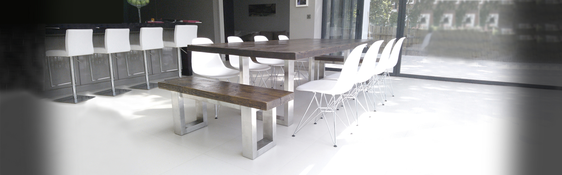 Reclaimed wood table and benches |Contemporary Furniture
