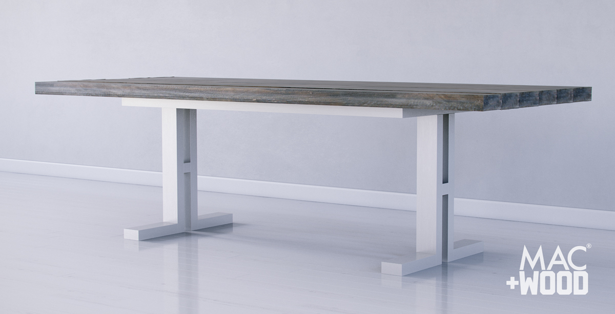 Mac+Wood Pedestal 'Tron' Frame Table Design