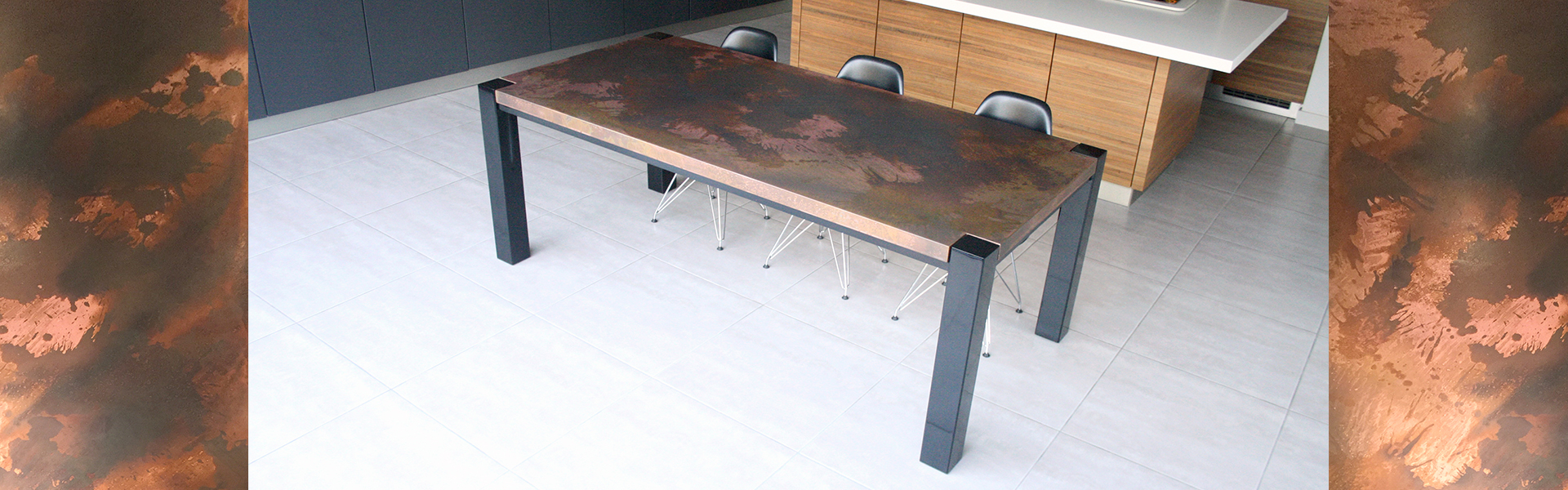 Trunk Table design in Distressed Copper and Black Steel frame