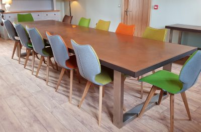 Mac+Wood Signature table design with Aged Copper