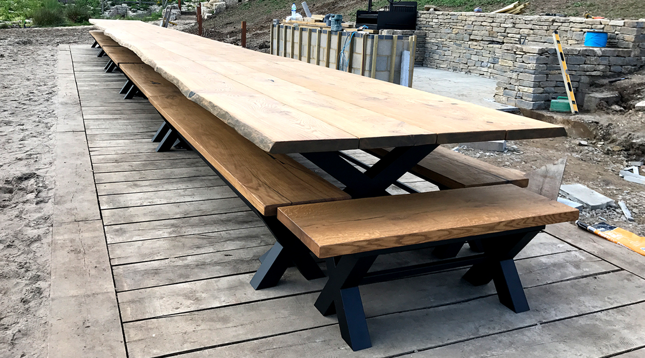 Oak banquet table with live edge